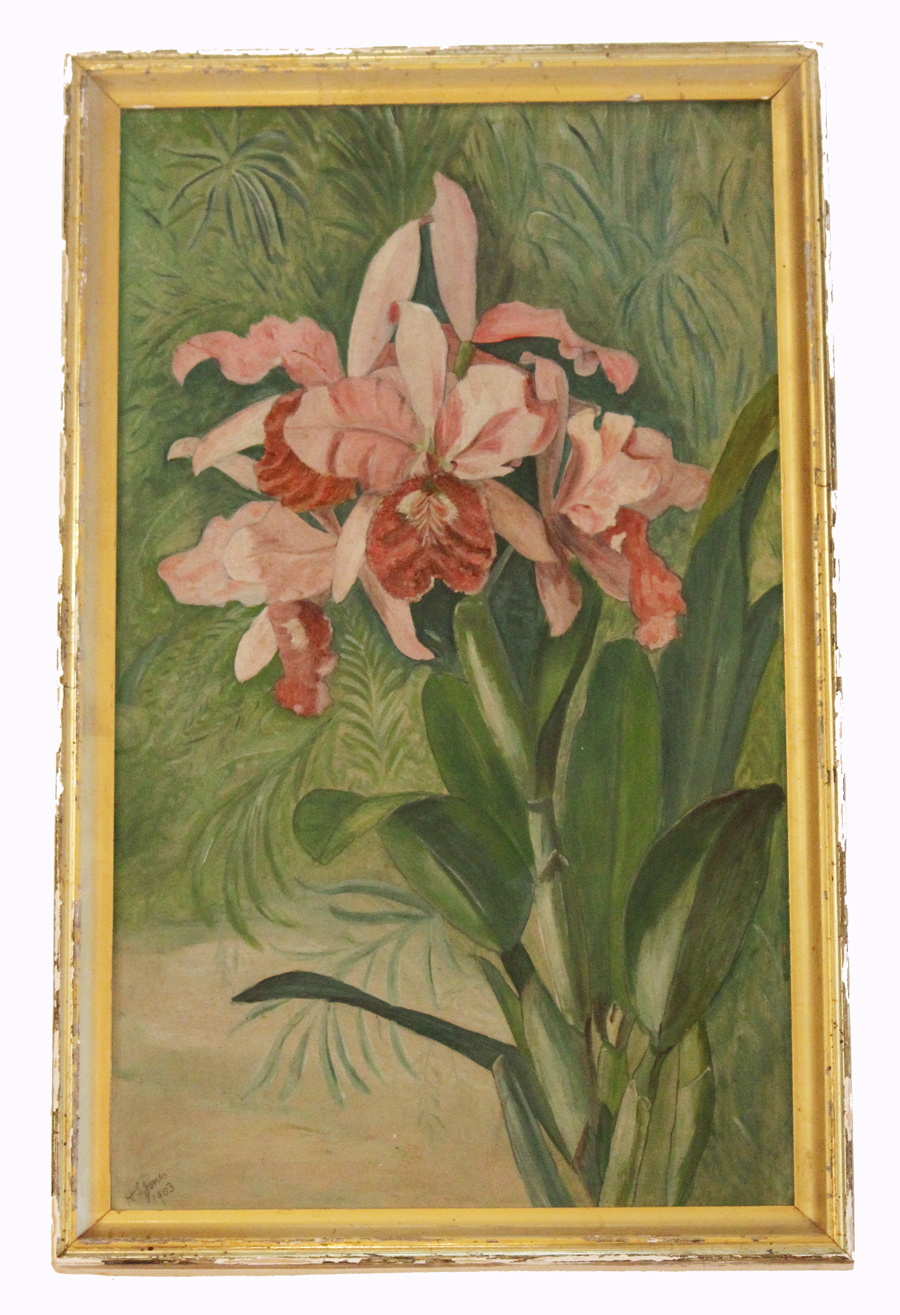 Early 1900s Signed Victorian Pink Lilles Floral Painting-