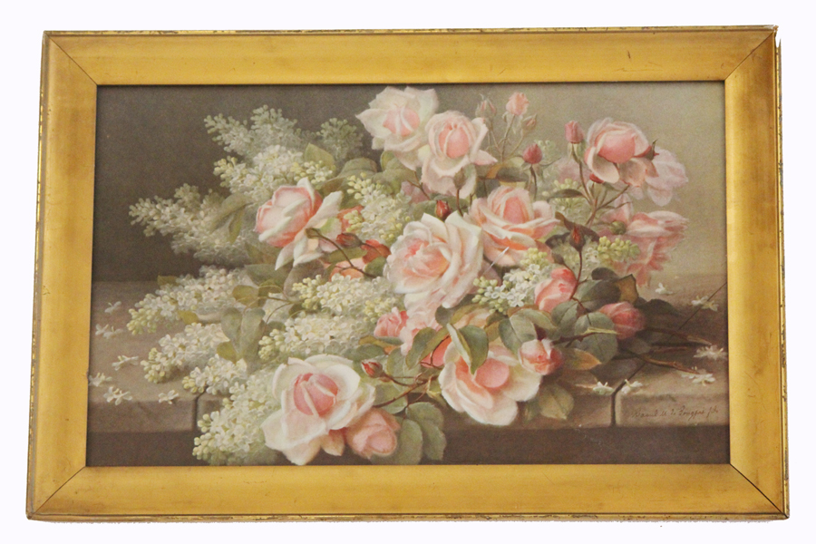 Antique Pink Roses Beautiful Framed Lithograph-