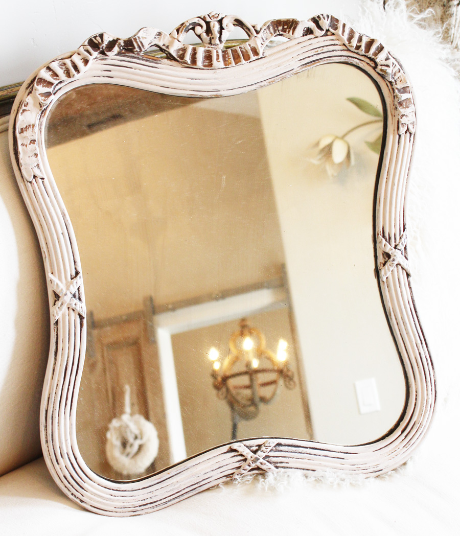 Antique Pale Pink Gorgeous Carved Wood Mirror-