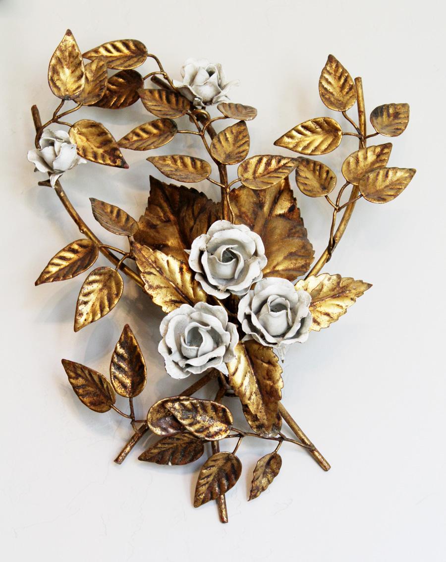 Pair Gorgeous Antique Italian Tole Rose Gilt Wall Sconces-
