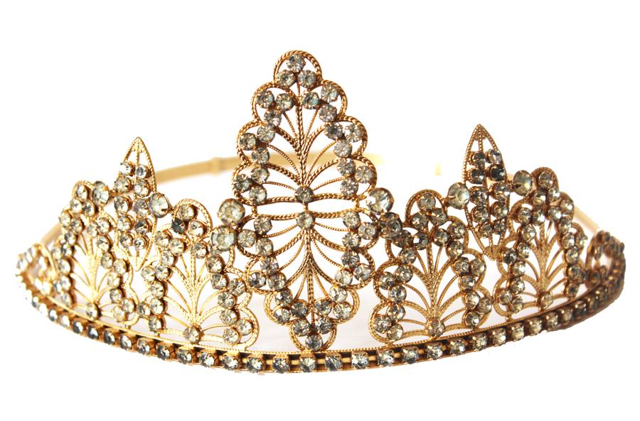 Antique Lifesize French Tiara/Crown Rhinestones-
