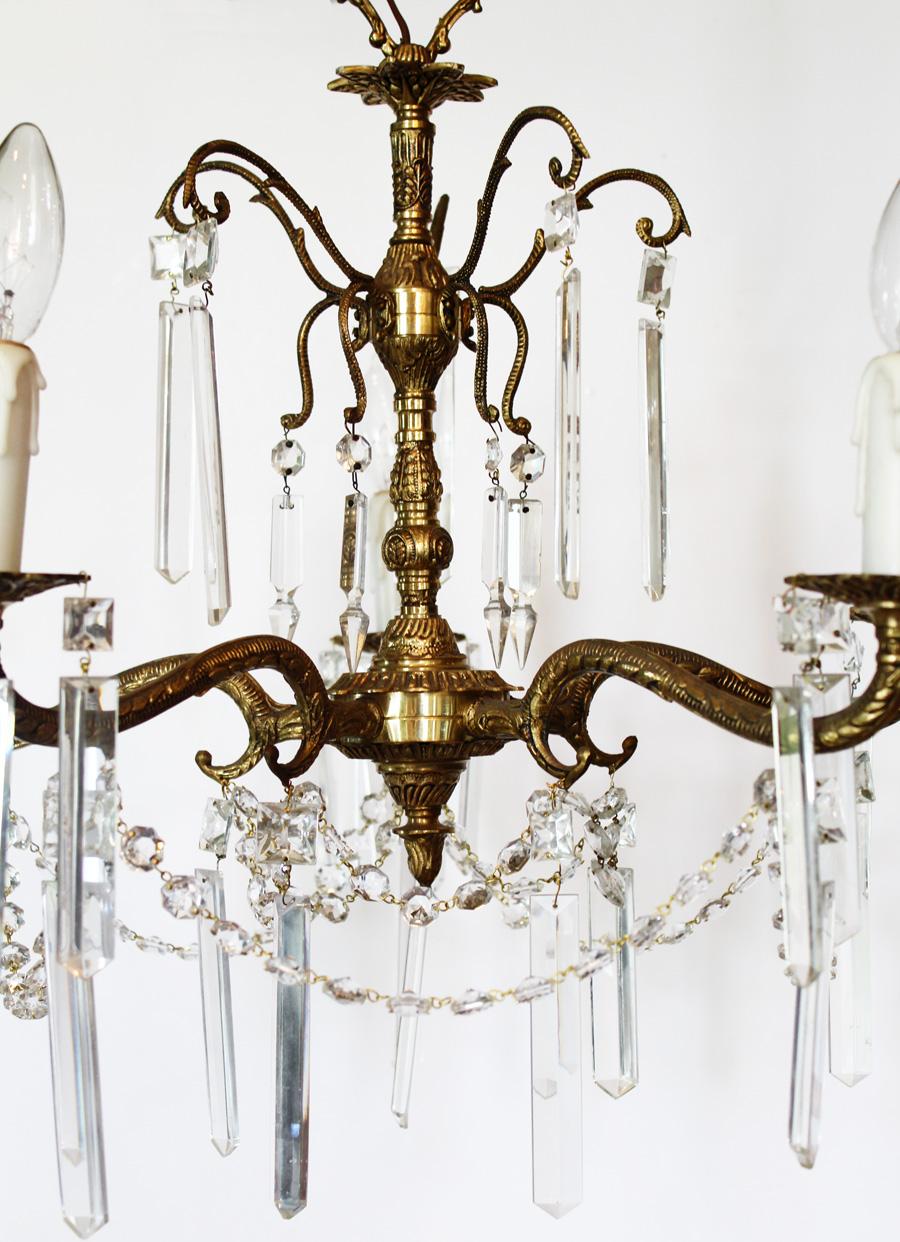 Antique Crystal & Brass Chandelier Rectagular Prisms-