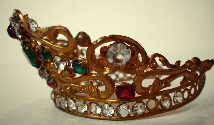 French Multi Colored Stones Bejeweled Antique Crown/Tiara-