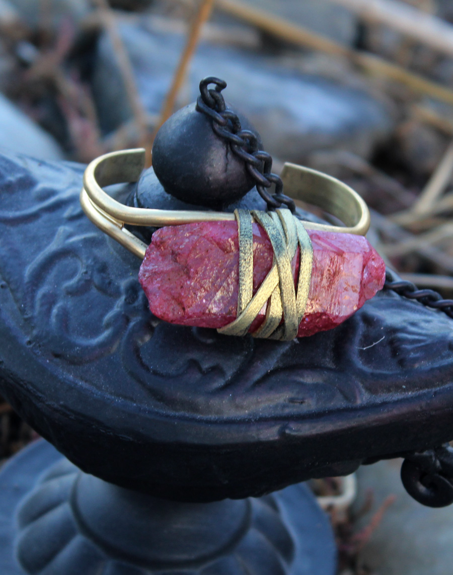 Red Rock Crystal Quartz Bracelet- Rock it Gypsy Designs-