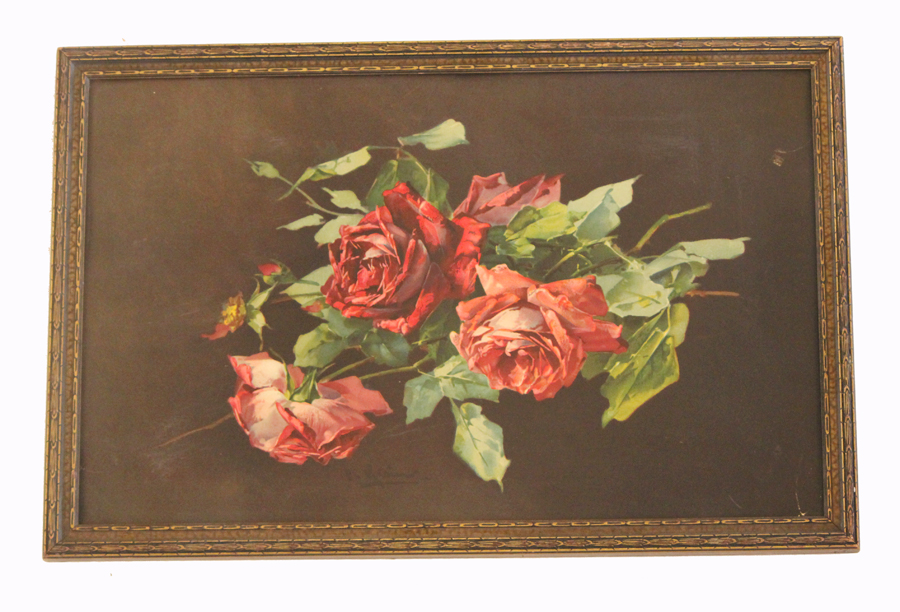 Victorian Lithograph Red Roses Framed Print Early 1900s-