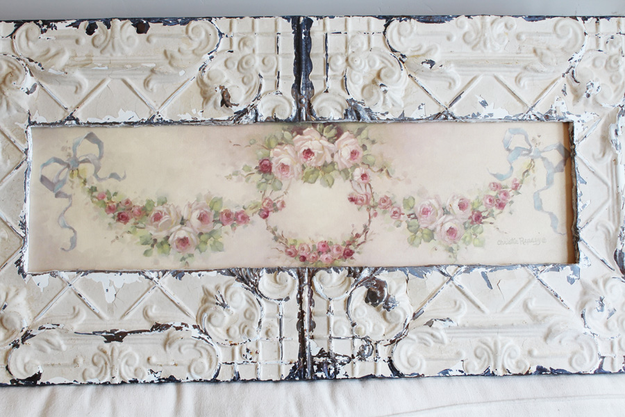 Rare Tin Ceiling Framed Christy Repasy Garland Yard Long Canvas Signed-