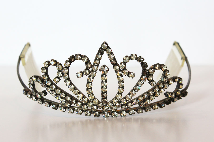 Antique Rhinestone Crown Tiara Stunning w/Combs-