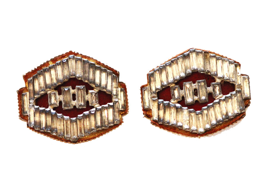 Pair Antique Shoe Late 1800s French Rhinestone Buckles-