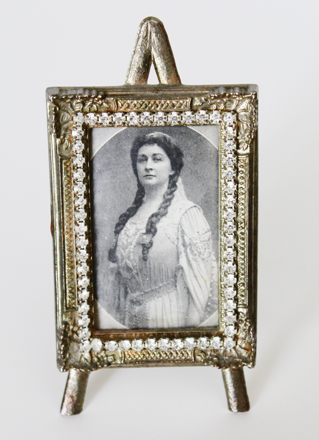 Antique Victorian Jeweled Easel Back Picture Frame-Antique Victorian Jeweled Easel Back Picture Frame