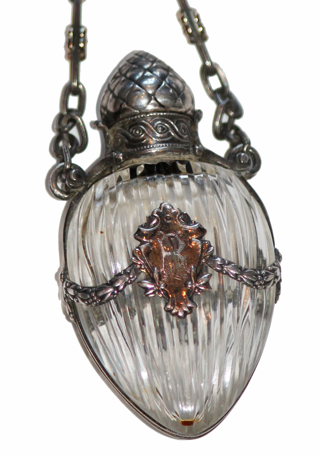Rare Hand Cut Rock Crystal & Sterling Perfume Pendant/Pin-