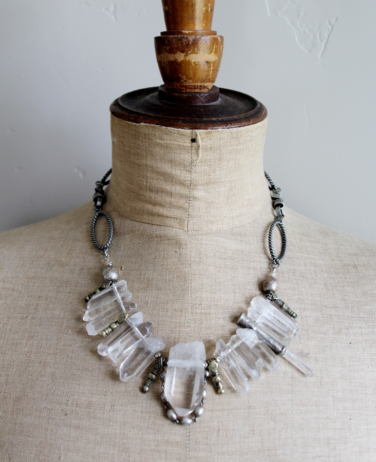 Rock Quartz Crystal One of A Kind Necklace-Rock it Gypsy-Rock Crystal, Quartz, Necklace, OOAK