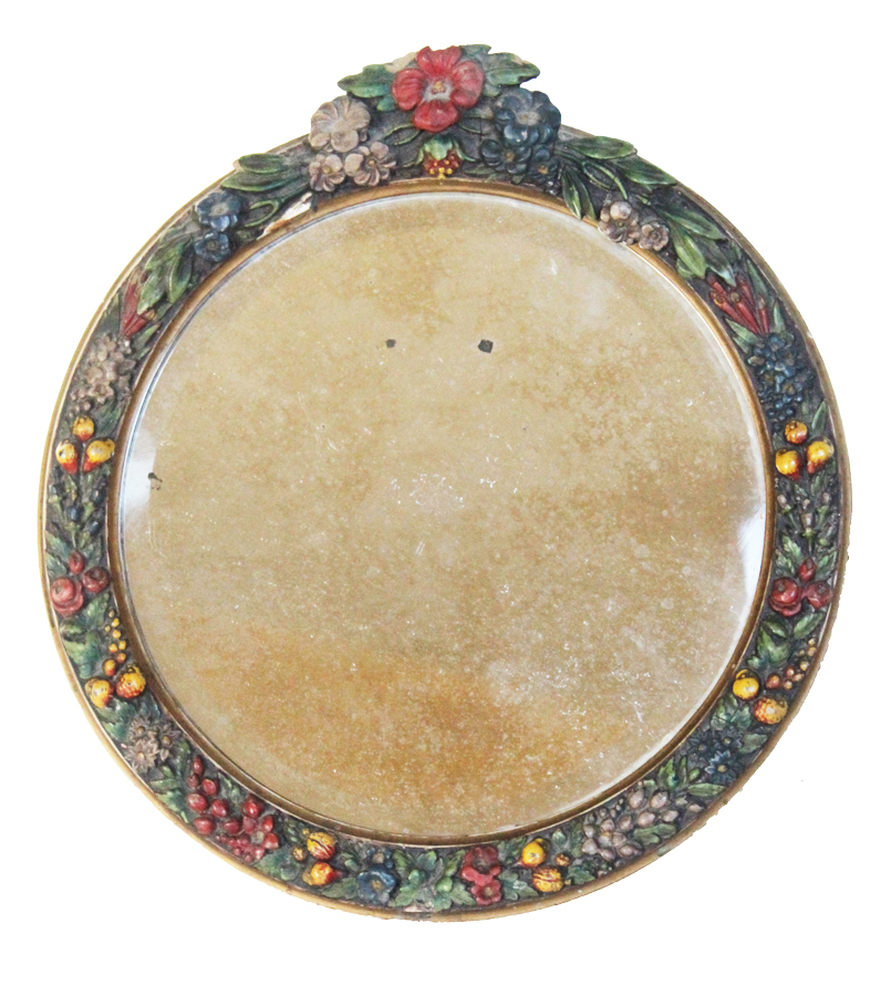 Antique English Barbola Round Beveled Mirror-