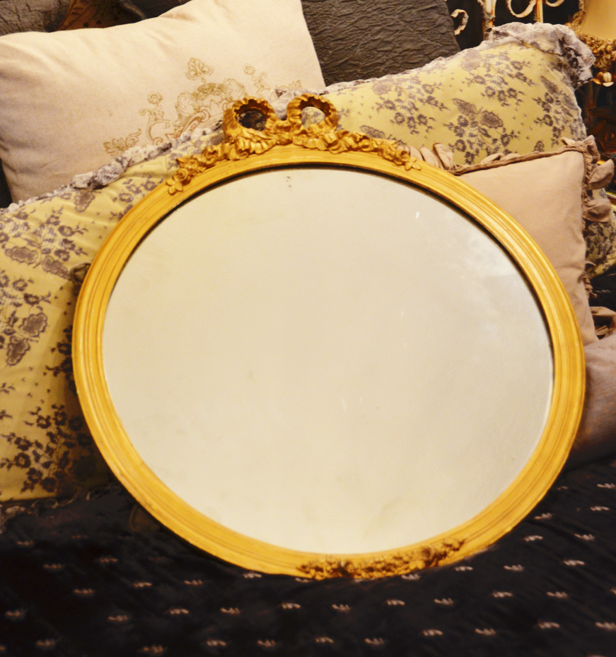 Antique French Gilt Barbola Round Wall Mirror-