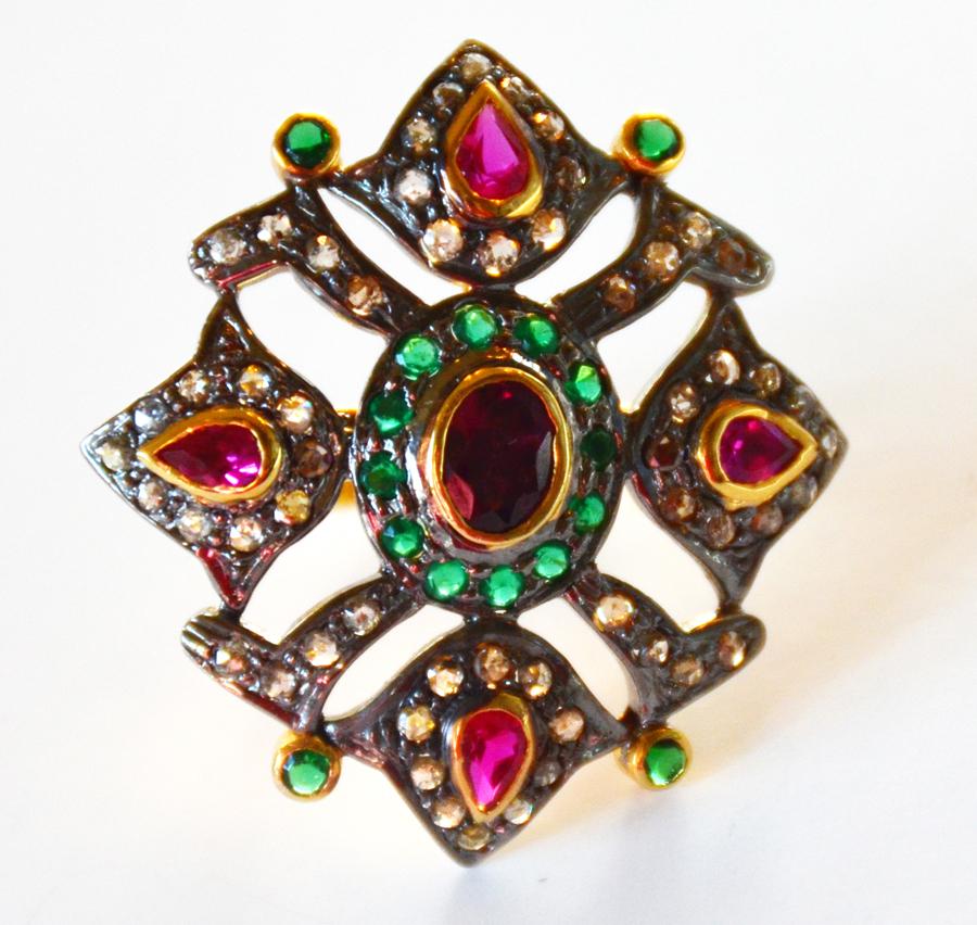 1.12 Carat Diamond, Ruby & Emerald Ring-