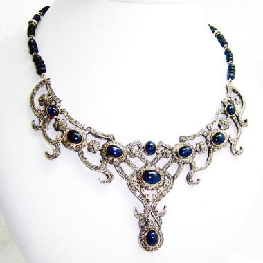 Rare 8.77 Ct Diamond & Sapphire Cabochon Necklace-