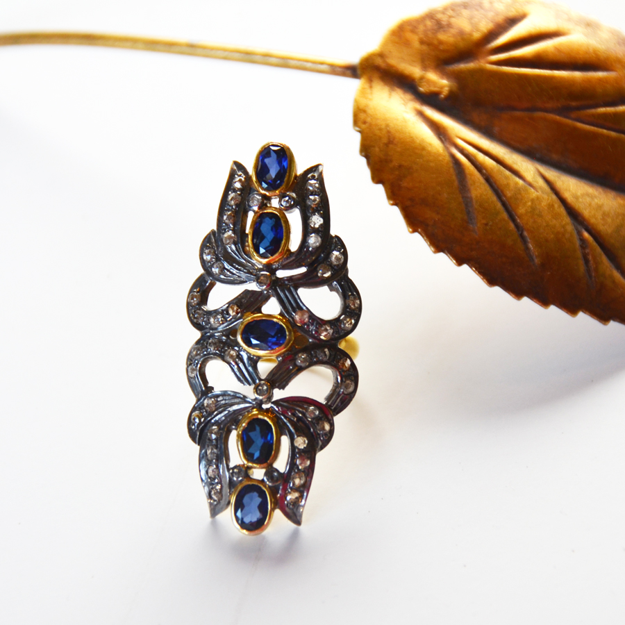 Rare Sapphire &1.55 Ct  Diamond North South Ring-