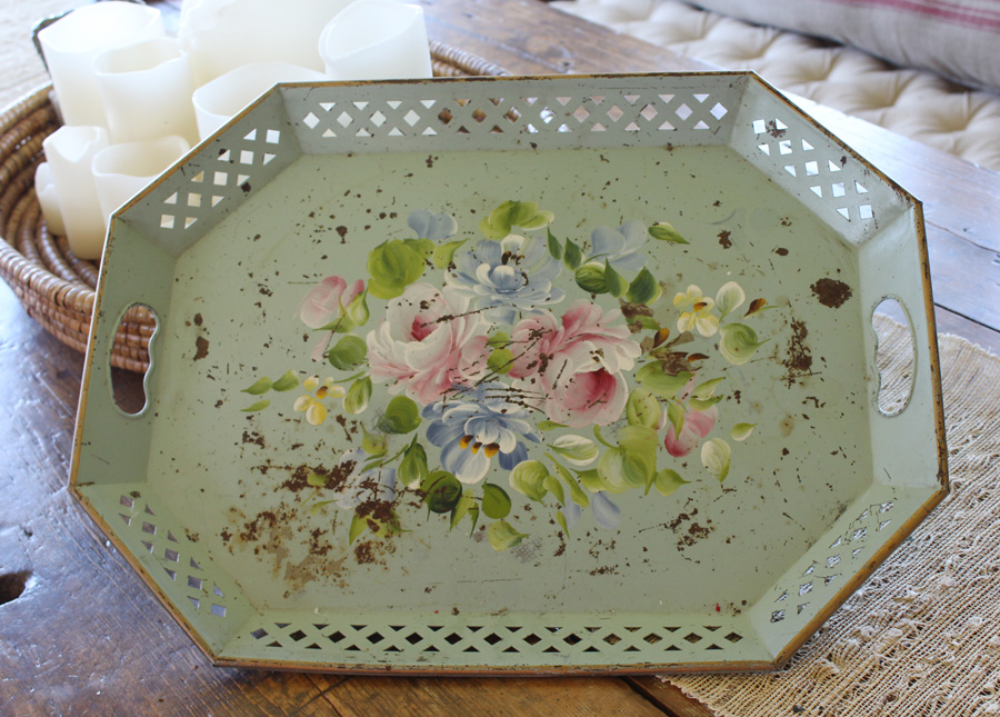 Gorgeous Antique Seafoam Green Handpainted Tole Tray-