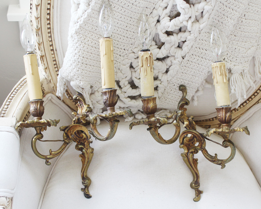 Pair French Bronze Wall Sconces Gorgeous Patina Antique-