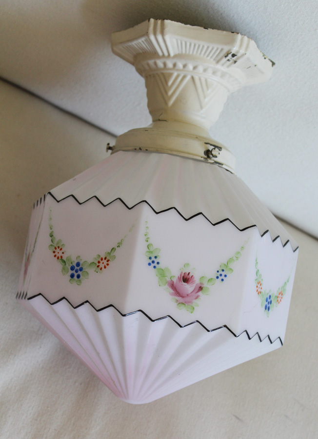 Antique Handpainted Vintage Flushmount Glass Light-