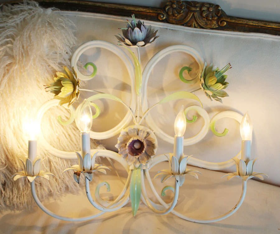Antique Italian PaintedTole Wall Sconce Floral-
