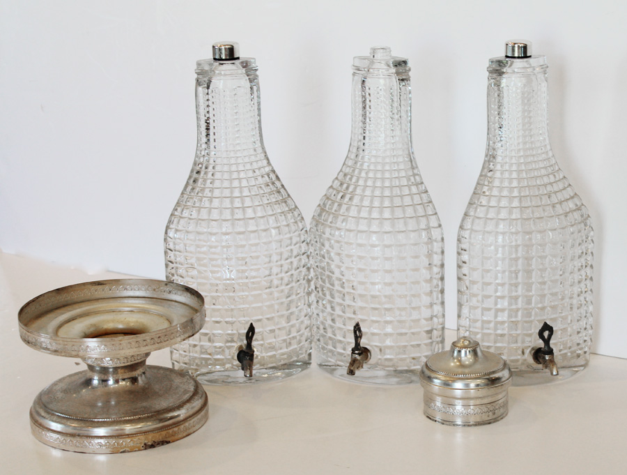 Vintage Made in Italy 3 Pressed Glass Server Barware-Vintage, Italy, Pressed Glass, Server Barware, Crystal, drink