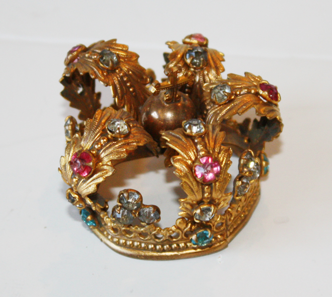 French Antique Crown Rare Pink & Blue Jewels Gorgeous-