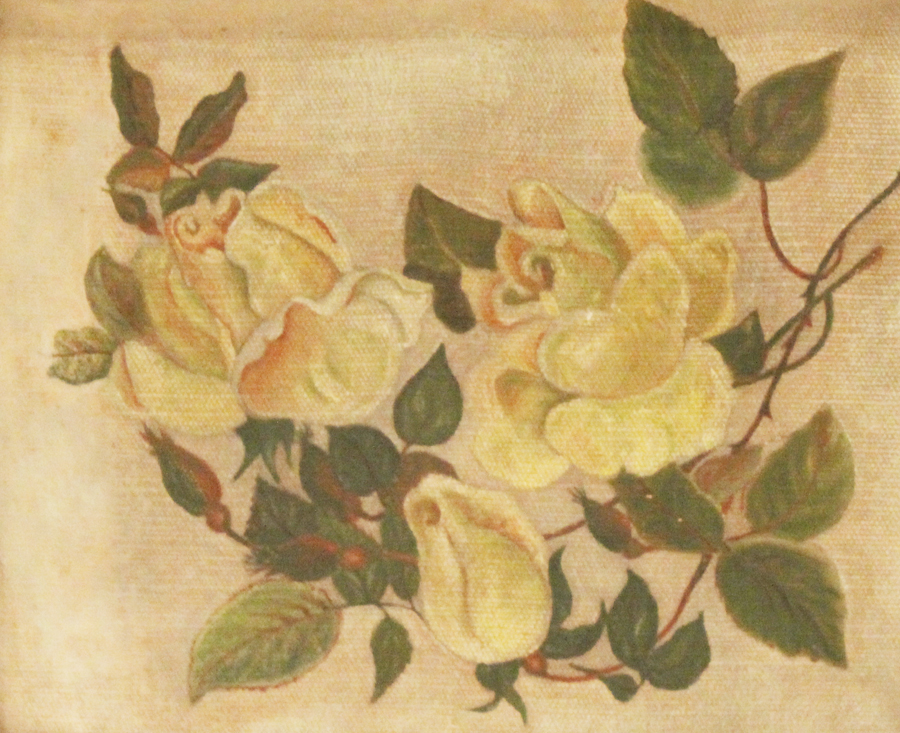 Antique Framed Yellow Rose Oil Painting-