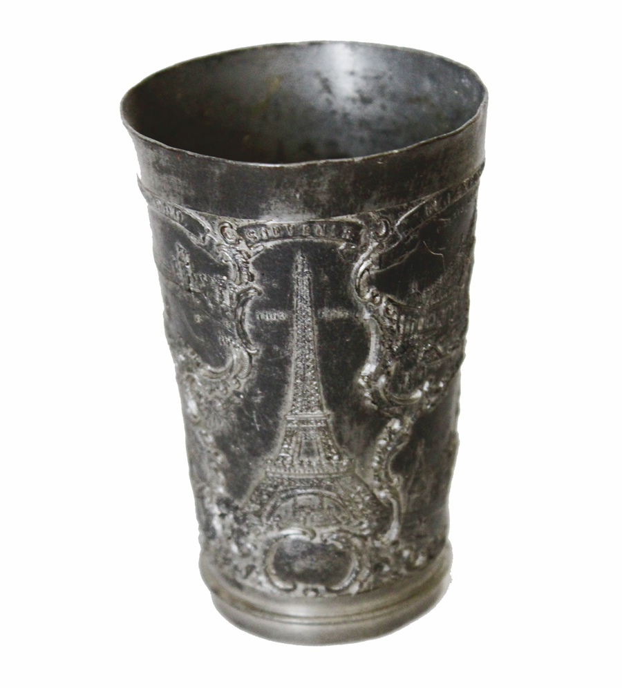 Antique French Souvenior Cup with Landmarks-