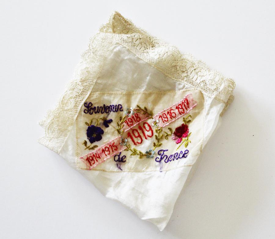 Antique French Silk Souvenior Hankie Handstiched 1914-