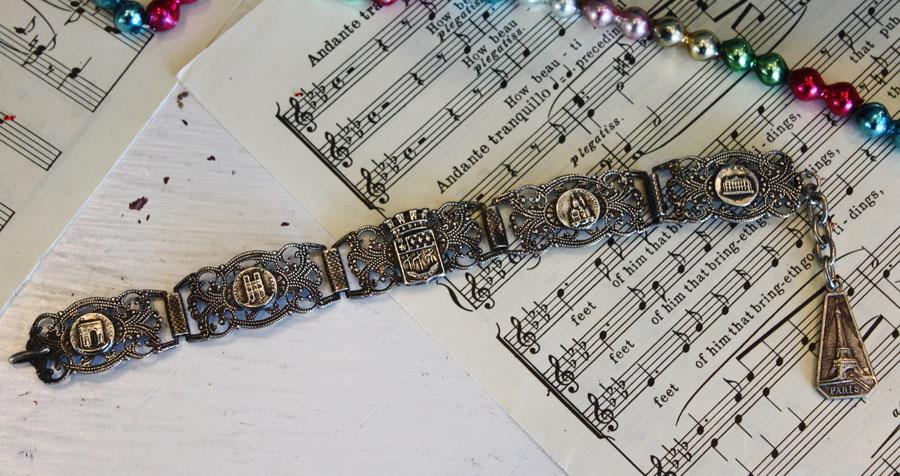 Rare Antique Paris Souvenir Bracelet Silver-