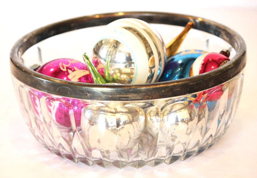 Antique Cut Crystal Bowl Sterling Silver Trim Beautiful-