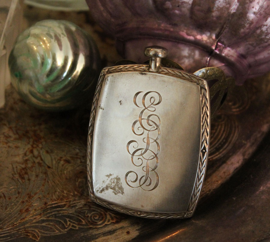 Antique Monogramed Sterling Silver Perfume Rare Black Cameo-