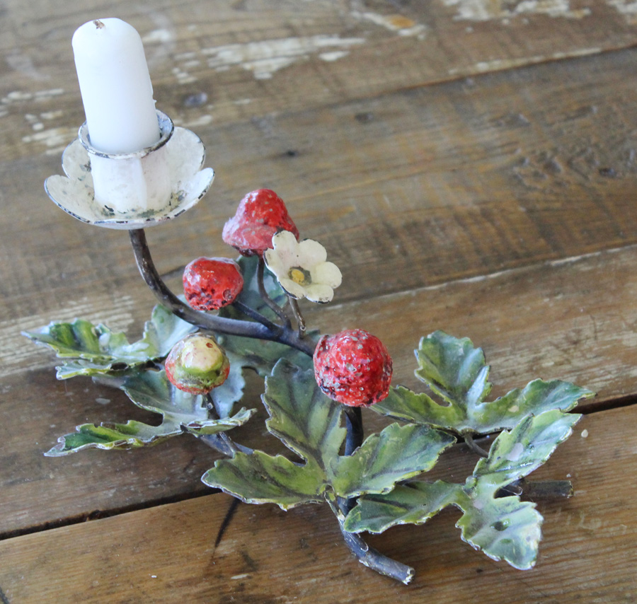 Italian Tole Strawberry Candlestick-