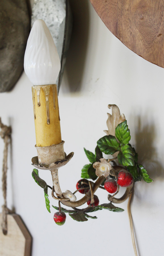 Italian Tole Strawberry Wall Sconce Rare-