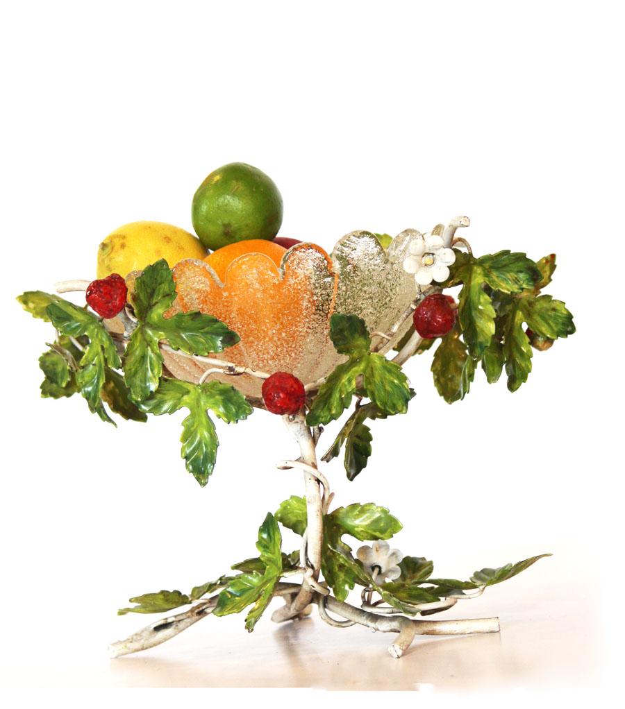 Rare Antique Italian Tole Strawberrys Compote w/Bowl-
