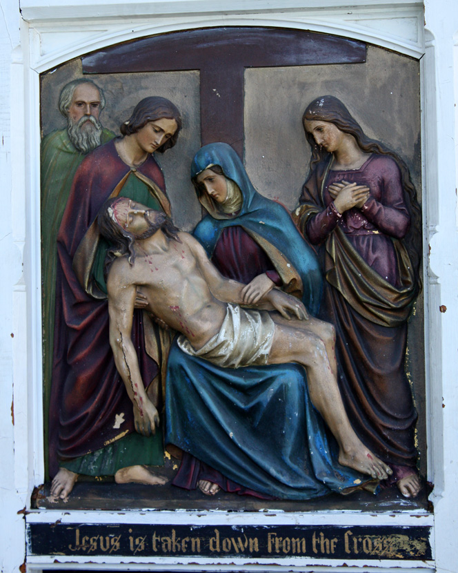 1870s Rare Carved Wood w/Gesso Stations of the Cross-