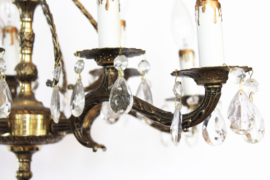 Antique 10 Light Brass & Crystal Chandelier Gorgeous-