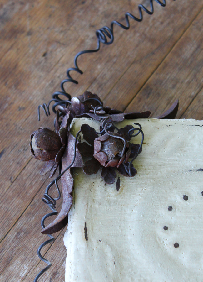 Vintage Ceiling Tin Wall Clock w/Tole Flowers-