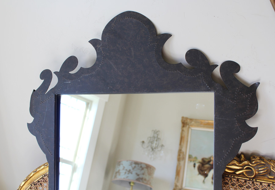 Antique French Metal Punched Mirror Gorgeous-antique, lighting, chandelier, wall sconces, beaded, French, vintage, shabby chic, beaded sconce, Italian, pendant, European, sconce, Mirror