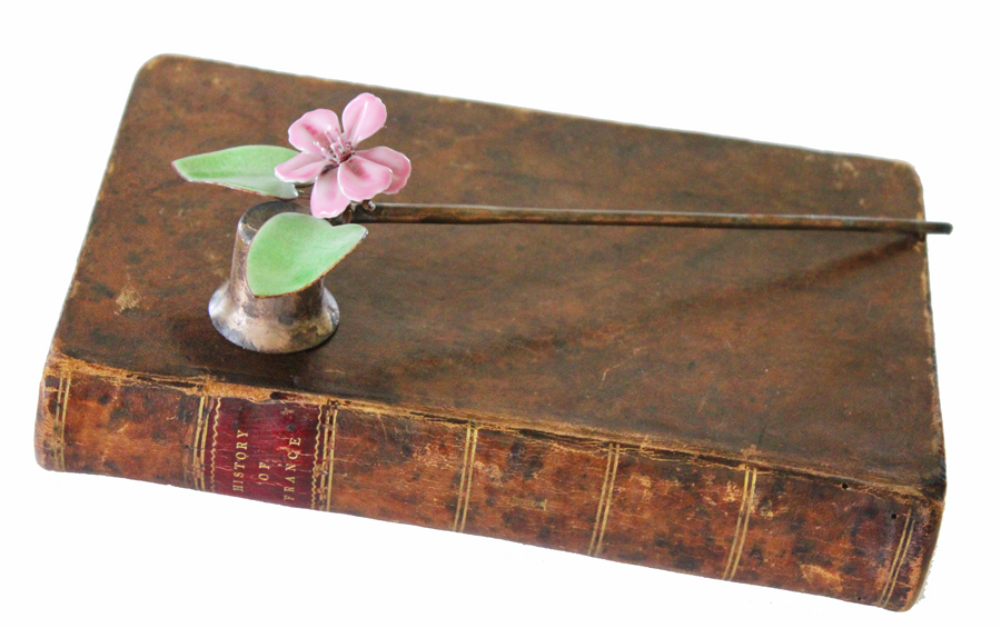 Antique Enamel Tole Flower Candle Snuffer-