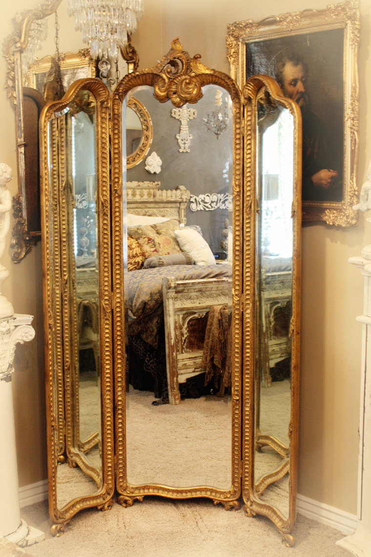 Antique Hand Carved Gilt Three Panel Mirror-