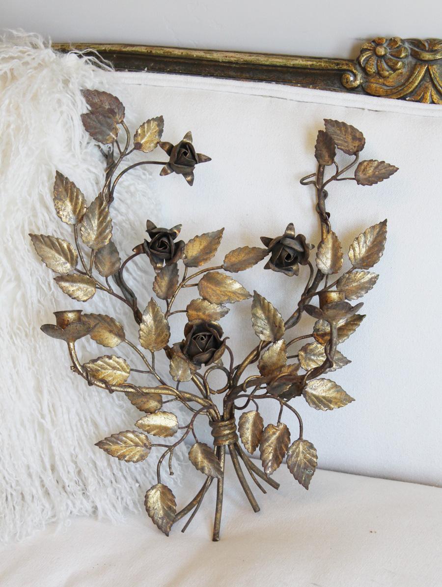 Antique Italian Tole Gilt Wall Sconces Gorgeous Patina Roses-