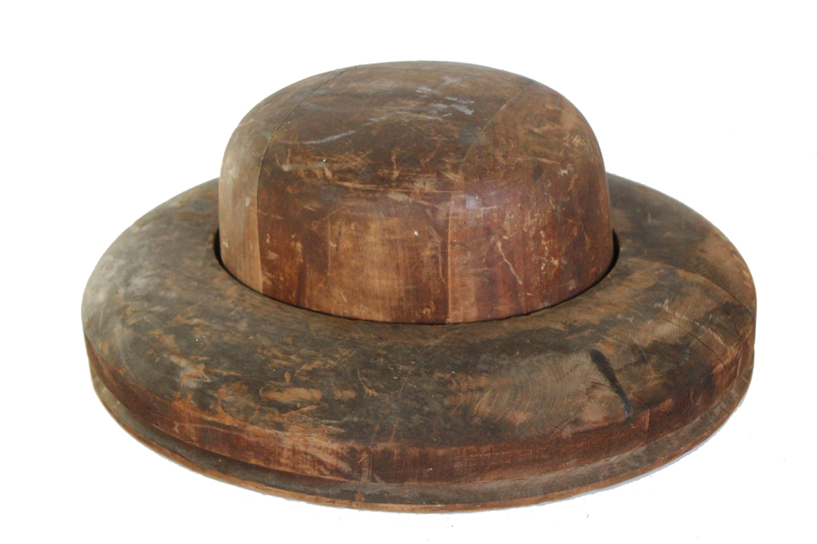 French Antique Wood Block Hat Mold 2 Piece-