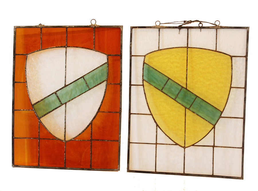Antique Pair Stain Glass French Shield-
