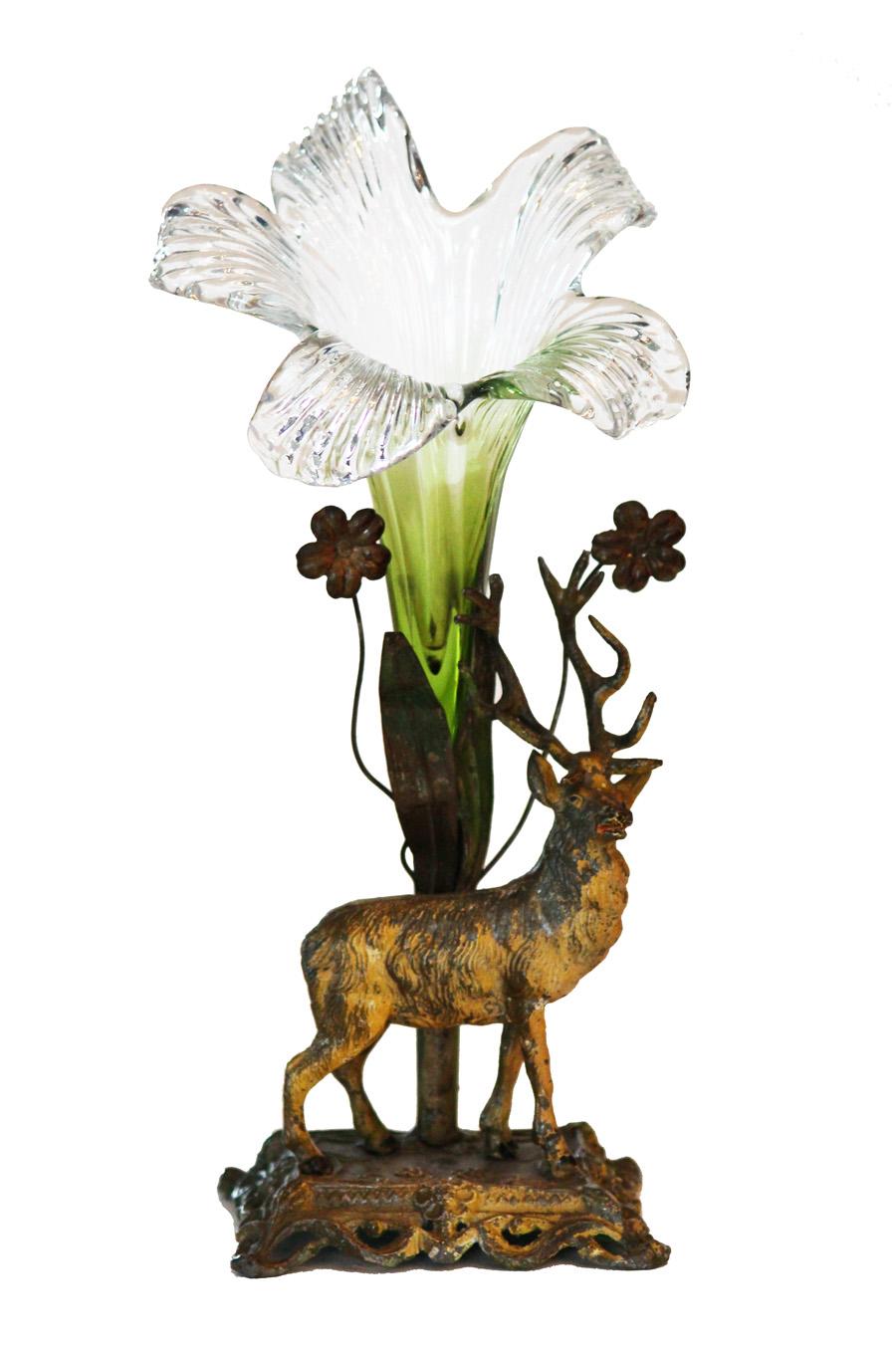 Victorian Rare Figural Deer Art Glass Epergne Beautiful-Victorian Rare Figural Deer Art Glass Epergne Beautiful