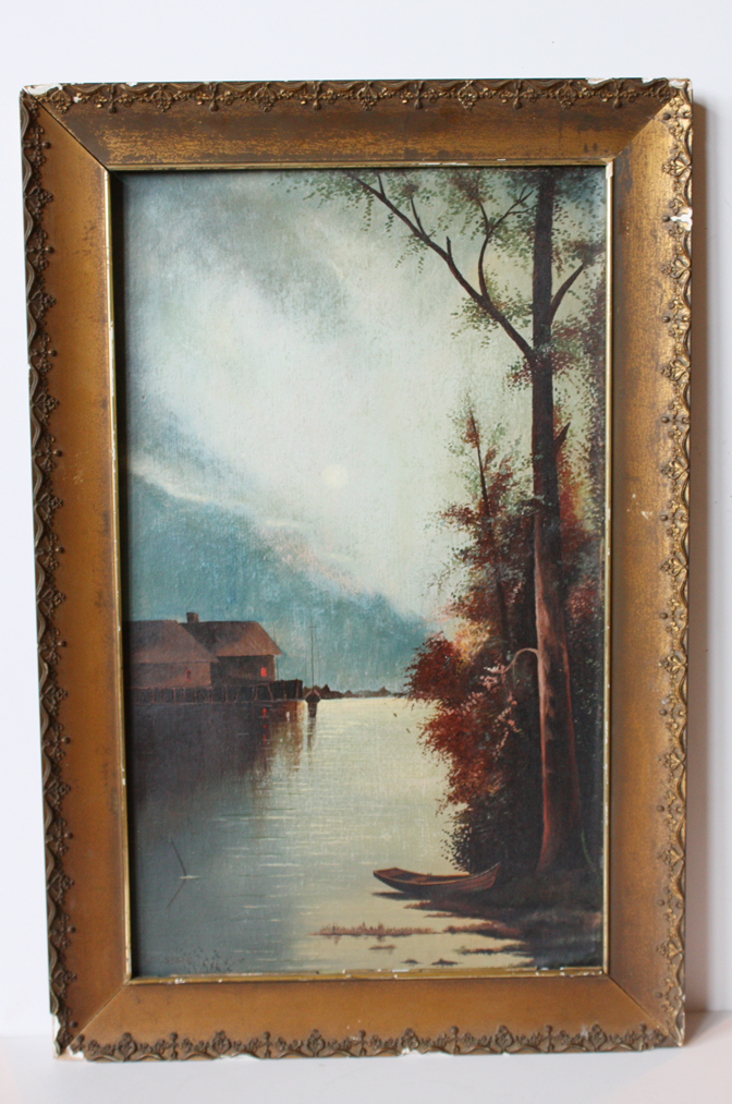 Moody Antique Victorian Landscape Paintings Original Frame-