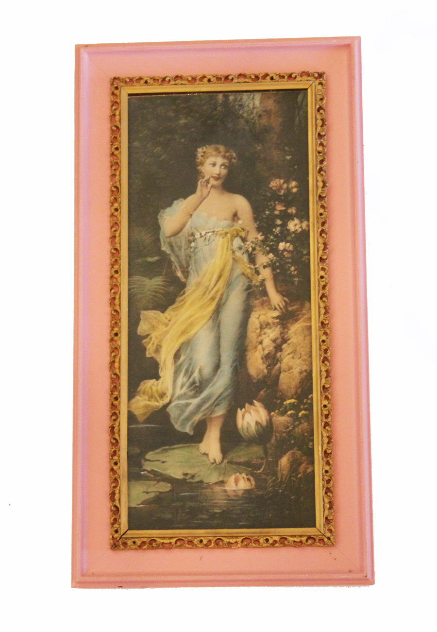 Victorian Antique Framed Lithograph Goddess Original Frame-