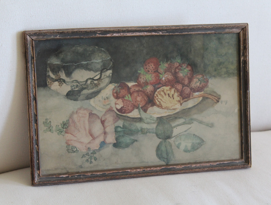 Antique Original Frame Victorian Watercolor Rose Painting-