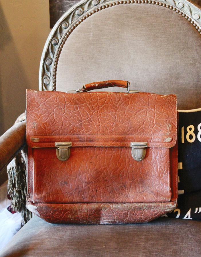 Vintage Worn Leather Satchel Bag-