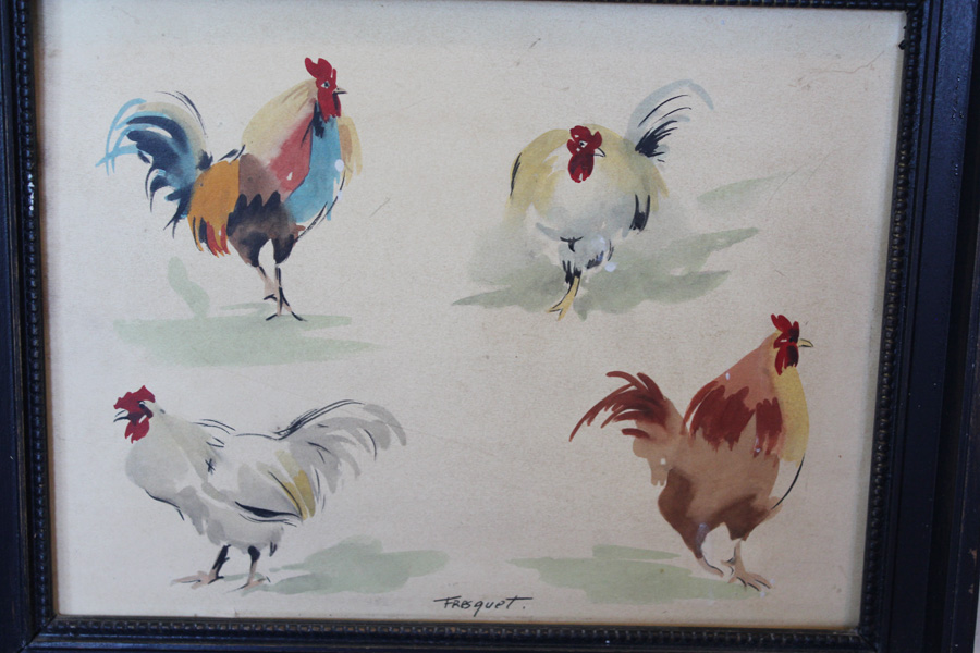 Vinage Chicken French Farmhouse Watercolor Print in Original Frame-